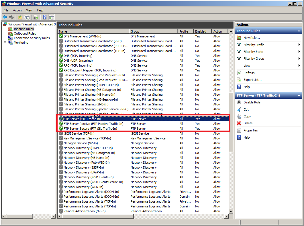 Install FTP for IIS 7.5 : Firewall Rules