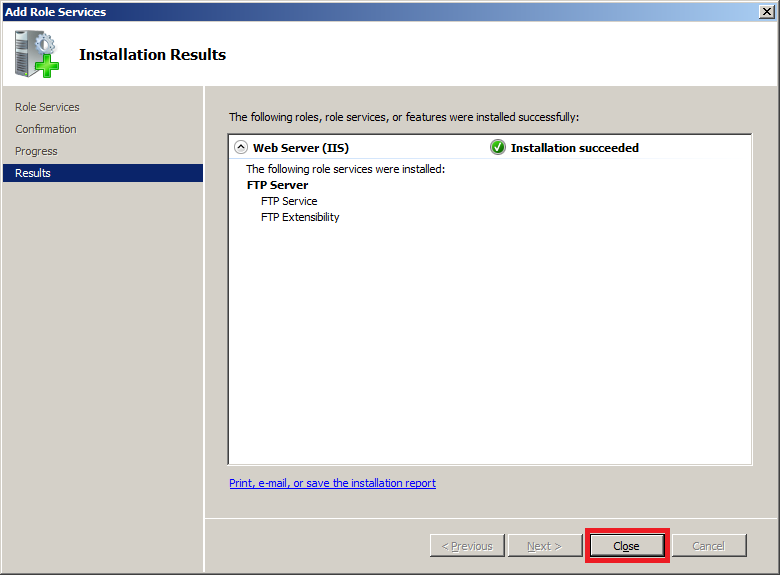 Install FTP for IIS 7.5 : Installation Results