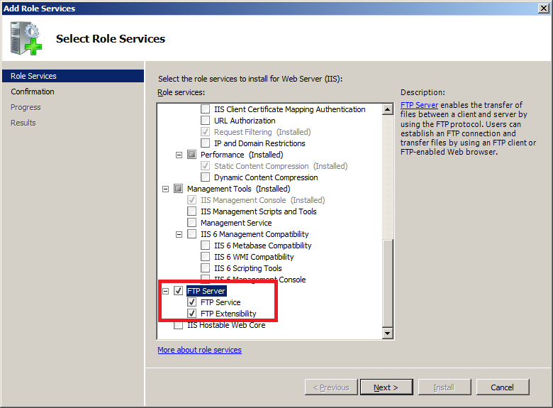 Install FTP for IIS 7.5 : Select Role Services