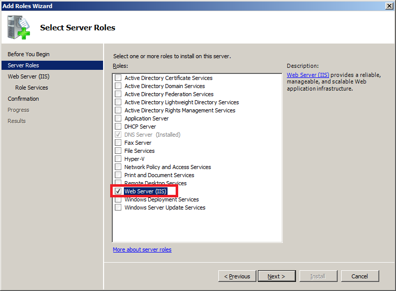 Install IIS on Windows Server 2008 : Add Roles Wizard