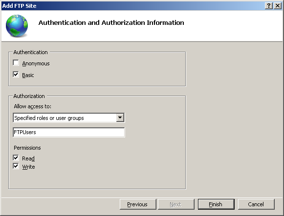 Setup FTP Server : Authentication and Authorization Information