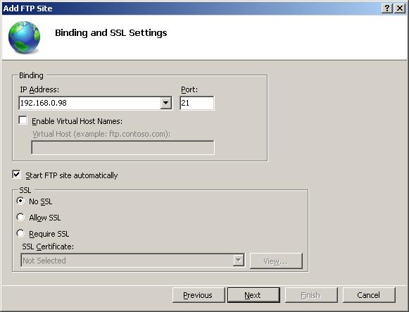 Setup FTP Server : Binding and SSL Settings