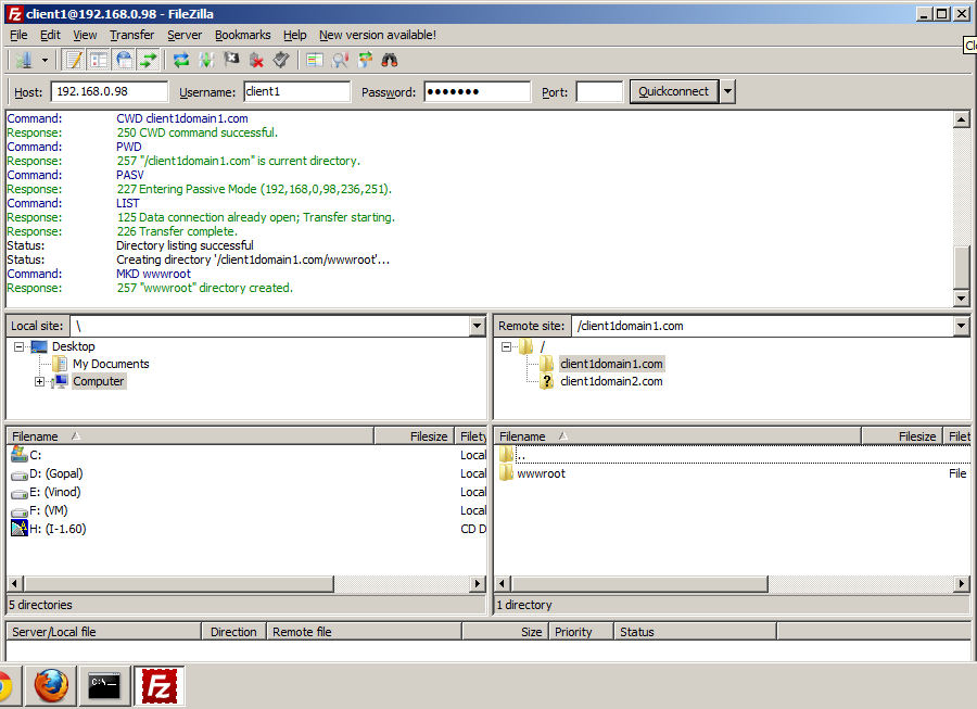 Setup FTP Server :: Checking FTP Server using FileZilla Client