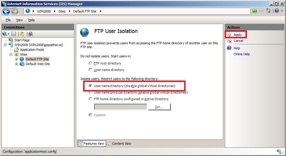 Setup FTP Server :: Configure FTP User Isolation