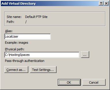 Setup FTP Server :: FTP User Isolation :: Add Virtual Directory