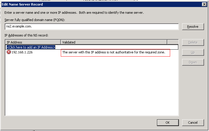 Error while adding secondary name server on Primary DNS Server