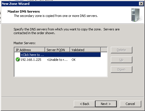 Configure secondary DNS Server :: Enter IP Address of Master DNS Server