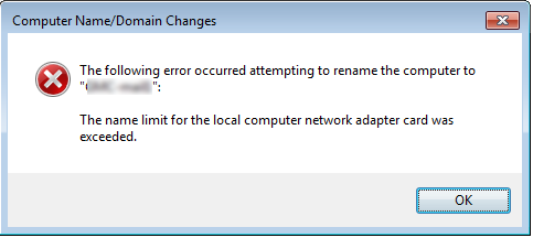 Error while changing Computer/Host name