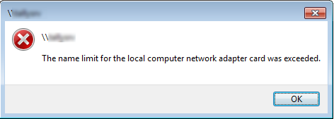 Getting this error while accessing network shares