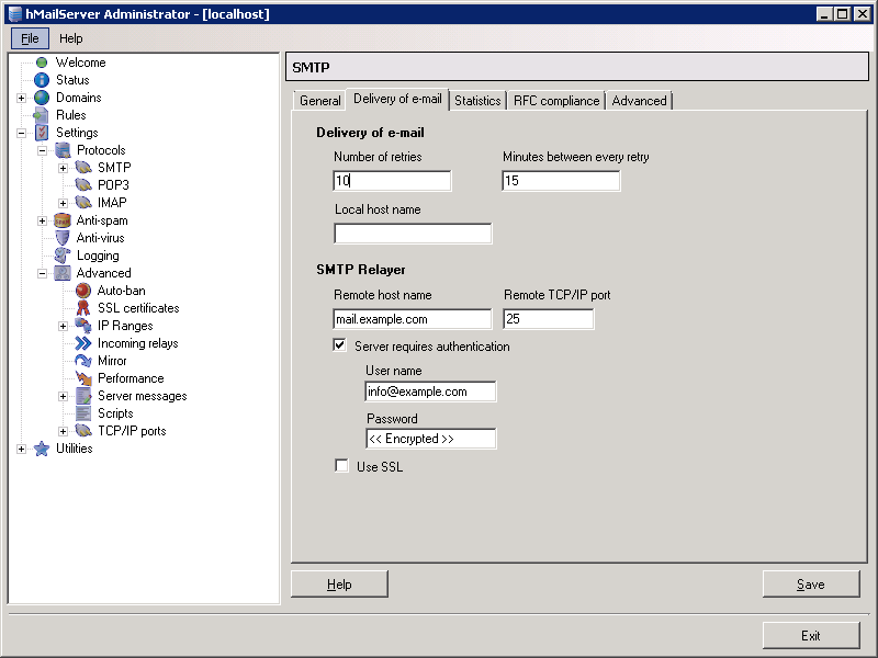 hMailServer: Configure SMTP Relay settings