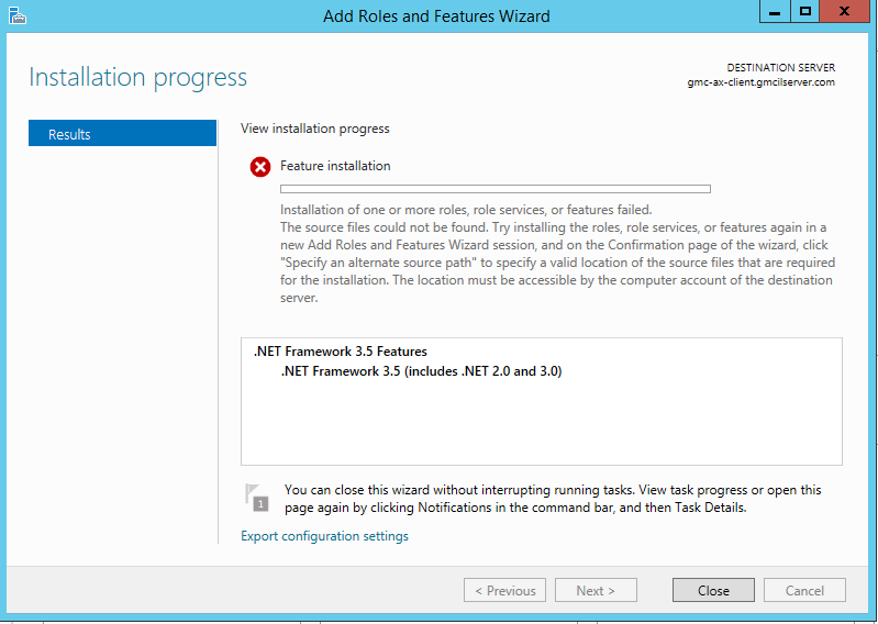 Error while installing .Net Framework 3.5 Features on Window Server 2012 R2